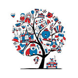 Art tree with russian symbols for your design Royalty Free Stock Image