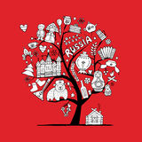 Art tree with russian symbols for your design. Vector illustration Royalty Free Stock Photos