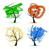 Art tree, seasons Royalty Free Stock Photo