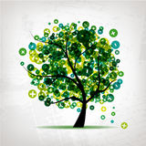 Art tree with signs of plus and minus Royalty Free Stock Photography