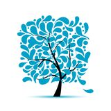 Art tree with water drops for your design Royalty Free Stock Photos