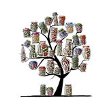 Art Tree With Pickle Jars For Your Design Royalty Free Stock Photo