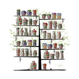 Art Tree With Pickle Jars For Your Design Stock Photos