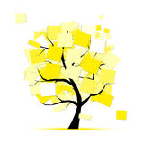 Art tree with yellow stickers for your design Stock Photo