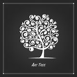 Art tree for your design on black background Stock Photos
