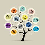 Art tree with zodiac signs for your design Stock Photos