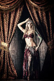 Art tribal. Beautiful traditional female dancer. Ethnic dance. Belly dancing. Tribal dancing royalty free stock images