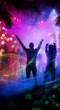 Art tropical beach night party Stock Image