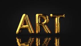 Art Type, Gold maserte Text mit flüssiger Reflexion, schwarzes Backg Stockfotos