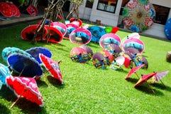Art Umbrella feito a mão para o viajante da mostra e da venda em BO-cantou a mão Foto de Stock Royalty Free