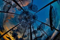 Art of umbrellas. The `Umbrellas` is an impressive work of art by the famous sculptor Giorgios Zoggolopoulos and is one of the attractions in Thessaloniki that Stock Photos