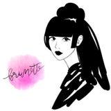 Art und Weise Brunette-Mädchenportrait vektor abbildung
