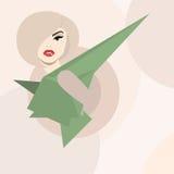 Art und Weise u. Zauber. Reizvolle Frau im futuristischen Kleid Stockfoto