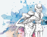 Art und Weiseabbildung Mädchen in den Hüten auf einem Aquarellhintergrund Stockbilder