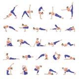 Art und Weiseart Sammlung Yogahaltungen Asana-Satz Stockfotografie