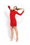 Art und Weisebaumuster im roten Kleid lizenzfreies stockbild