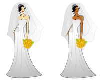 Art- und Weisebraut-Hochzeits-Kleider Lizenzfreies Stockfoto