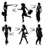 Art und Weiseeinkaufen-Frauenschattenbilder Stockfotos