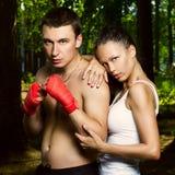 Art und Weisefoto des jungen Mannes und der Frau Stockfotografie