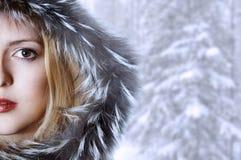Art und Weisefrau im Winterpelzhut Stockfotografie