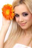Art und Weisefrau mit Blume Lizenzfreies Stockfoto