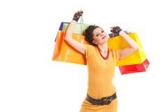 Art und Weisefrau mit Paketen Stockfotografie