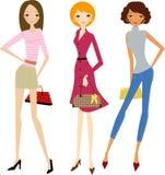 Art und Weisefrauen am Einkaufen Lizenzfreie Stockfotografie