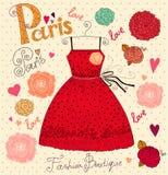 Art und Weisekarte mit Kleid Lizenzfreies Stockbild