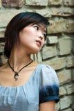 Art und Weisemädchen auf Ziegelsteinhintergrund Stockfotografie