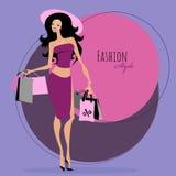 Art und Weisemädchen Frau mit Einkaufenbeuteln Lizenzfreie Stockbilder