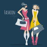 Art und Weisemädchen Frauen mit Einkaufstaschen Lizenzfreie Stockbilder