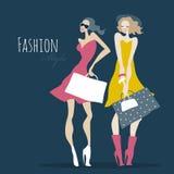 Art und Weisemädchen Frauen mit Einkaufstaschen Stockbild