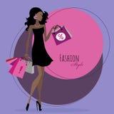 Art und Weisemädchen Frau mit Einkaufenbeuteln Stockfotos
