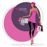 Art und Weisemädchen Frau mit Einkaufenbeuteln Stockbilder