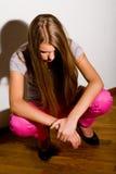Art und Weiseportrait der deprimierten Frau Stockfotografie