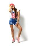 Art und Weiseportrait der hohen Art und Weise look stilvolles schönes Modell der jungen Frau des Zaubers Stockbild