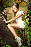 Art und Weiseportrait der jungen schönen Frau Lizenzfreie Stockfotos