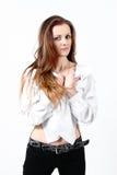 Art und Weiseportrait der schönen Frau Lizenzfreies Stockfoto
