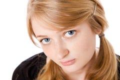 Art und Weiseportrait des schönen blonden Mädchens stockfoto