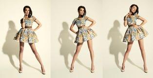Art und Weiseportrait einer schönen Brunettefrau Stockfotografie
