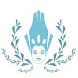 Art- und Weiseschnee-Königin. Zeichenfrauengesicht in der Eiskrone Stockfotos