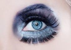 Art und Weiseverfassungsnahaufnahmemakrowinterschwarzes des blauen Auges Stockbilder
