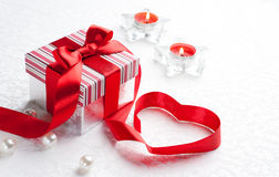 Art Valentine Day Gift box with red heart Royalty Free Stock Photo