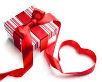 Art valentine day gift box on white background royalty free stock photography