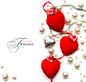 Art Valentine Day greeting card with red hearts stock photo