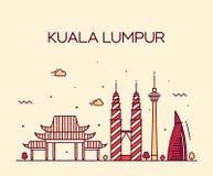 Art. van de de illustratielijn van Kuala Lumpur Trendy het vector Stock Foto