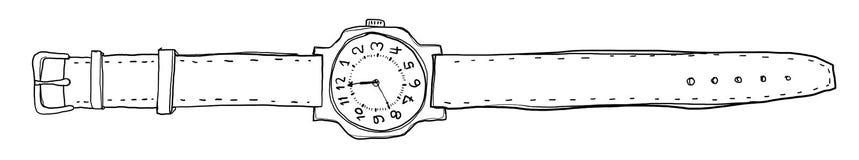 Art. van de horloges het uitstekende hand getrokken lijn Royalty-vrije Stock Afbeeldingen