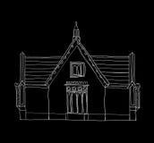 Art. van de huis het uitstekende leuke witte lijn Royalty-vrije Stock Fotografie