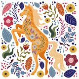 Art vector colorful illustration with beautiful abstract folk horse and flowers. Artwork for decoration your interior and for use in your unique design royalty free illustration