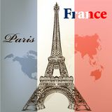Art vector  conceptual background with Eifel tower  and France f. Vintage vector card with Eiffel tower on a flag of France Stock Photography